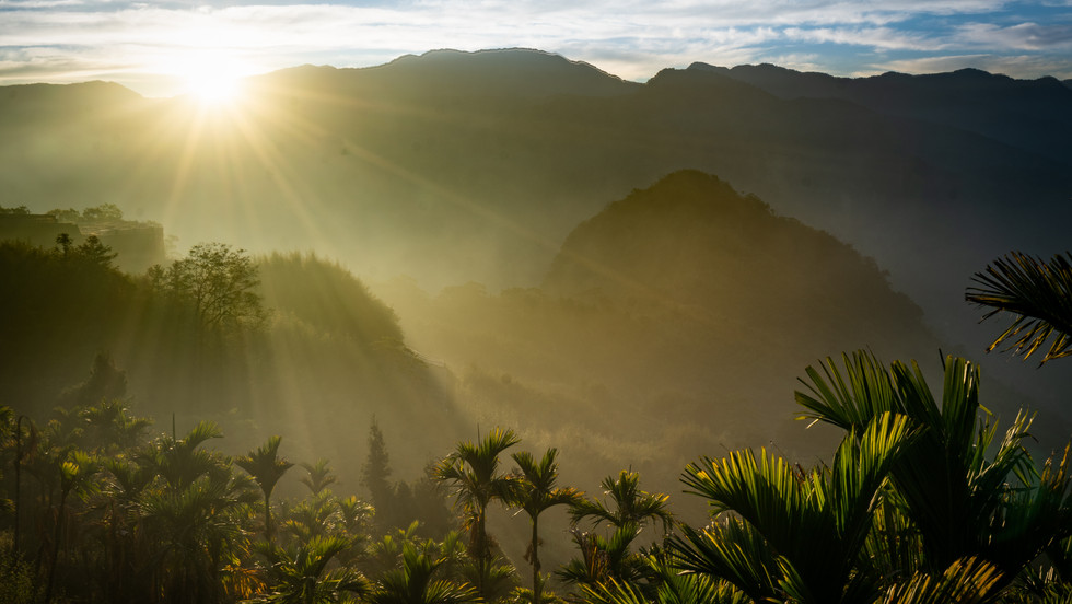 Sunset over palm-fringed mountains in Southern Taiwan - Alishan, Taiwan