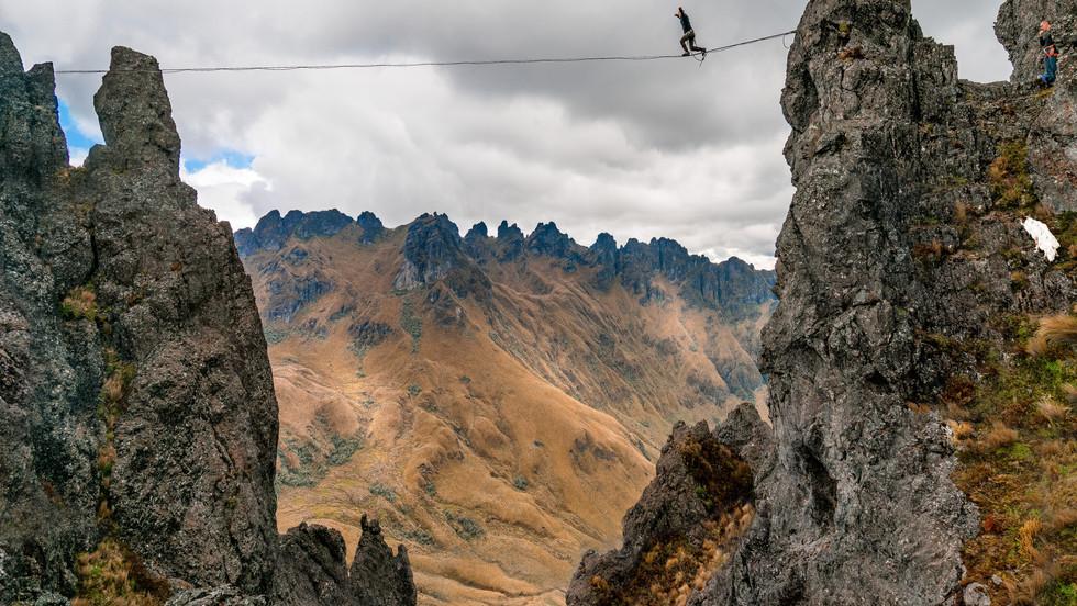Santiago Uscocovich attempts the first walk at Cerro Puntas, the highest altitude highline attempt in Ecuadorean history (14,609 feet) - Cerro Puntas, Ecuador