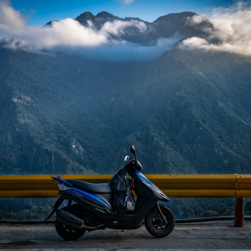 My motorbike on a highway in central Taiwan - Alishan, Taiwan