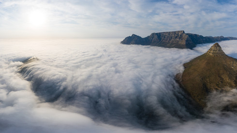 "21 photo panorama of a ""cloud-fall"" between Lion's Head and Signal Hill - Cape Town, South Africa"