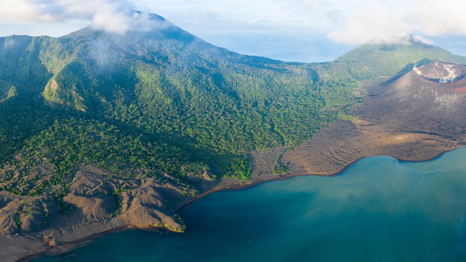 21 photo panorama of the volcanic platau opposite Rabaul - Papua New Guinea
