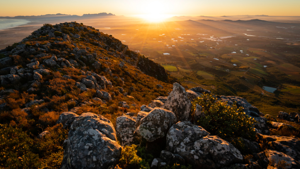 Sunset from the summit of Helderberg Mountain - Cape Town, South Africa