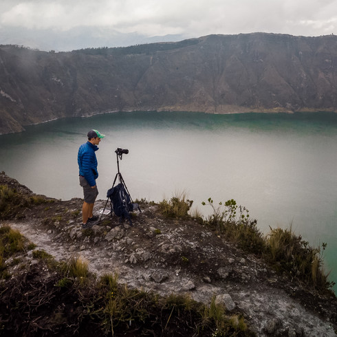 Shooting along the rim of at Laguna Quilotoa - Quilotoa, Ecuador