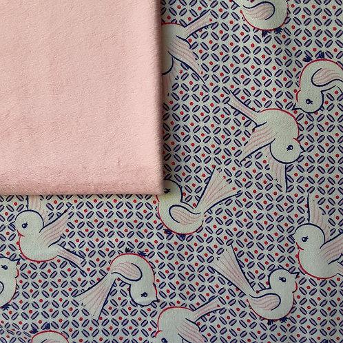 PERSONNALISÉE: Doudou câlins et soins oiseaux roses/rose