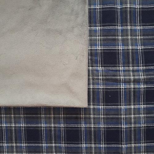 PERSONNALISÉE : Doudou câlins et soins Carreaux bleu/gris
