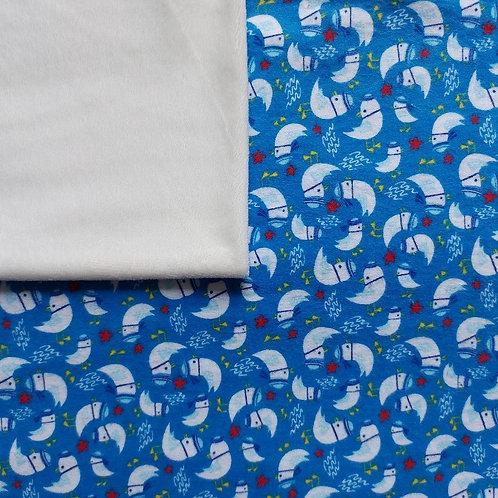 Doudou câlins et soins oiseaux bleus/blanc