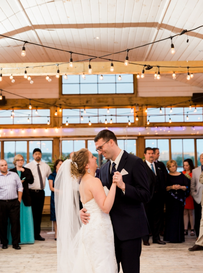 The couple's first dance on the beautifully decorated patio at Murphy's Restaurant