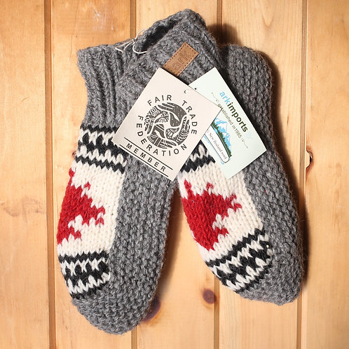 Grey Knitted Wool Booties, Maple Leaf
