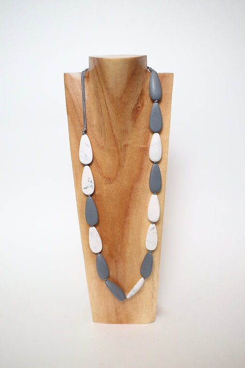 Grey and White Resin Necklace