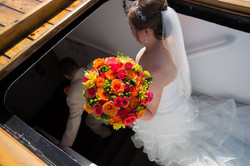The bride tucks away on the Tall Ship Silva