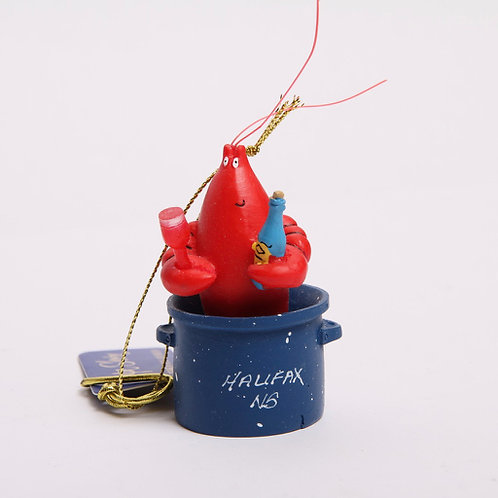 Lobster in Pot Christmas Ornament