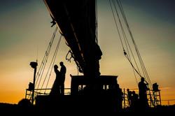 Dusk onboard the Tall Ship Silva