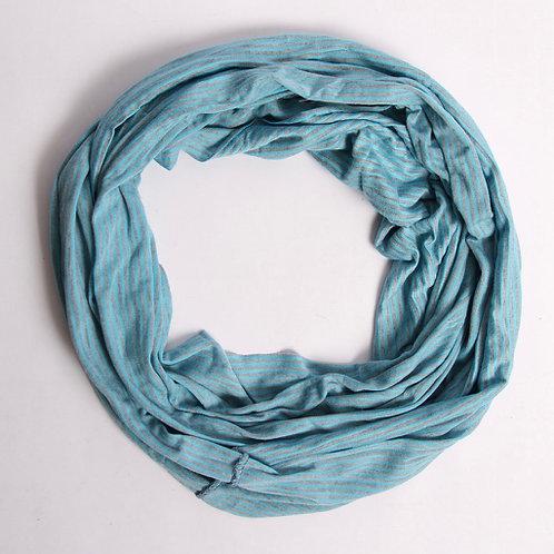 Cotton/Stretch Infinity Scarf w Fine Stripes