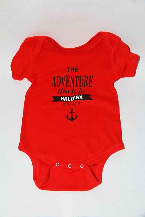 Adventure Starts Red Onesie