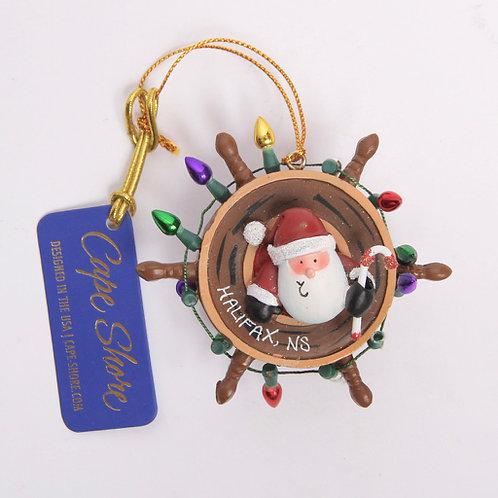 Santa & Ship Wheel Christmas Ornament