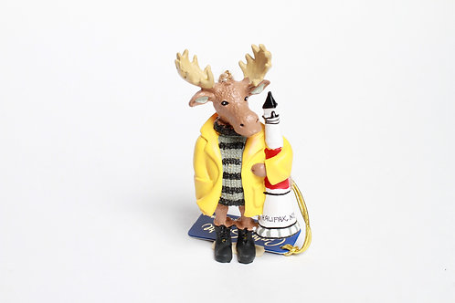 Moose with Slicker and Lighthouse Ornament