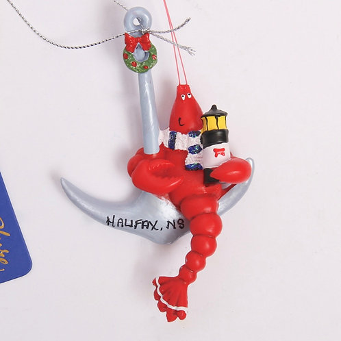 Lobster on Anchor Christmas Ornament