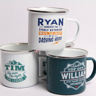 Persoanlized Tin Mugs