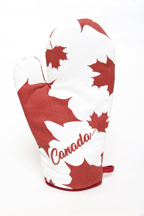 Oven Mitt with Canada & Maple Leaves