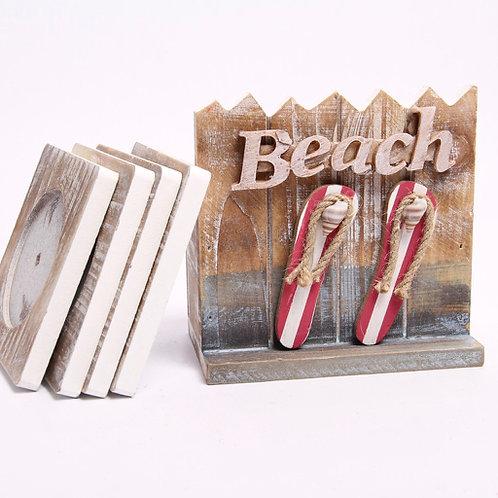 Wooden Beach Themed Coaster Set