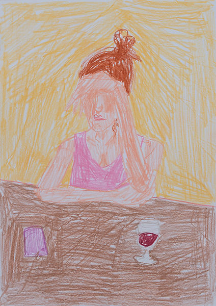 Henri Haake Malerei Maler painting Kunst art Kunstmarkt Künstler artist artfair zeitgenössisch contemporary collector Sammler artcollector Berlin Kreuzberg Lübeck emerging artist emergingart figurative henrihaake artmarket upcoming collector Sammler artcontemporain newfigurative Studio hmm rotwein red wine girl woman frau tisch interior yellow gelb