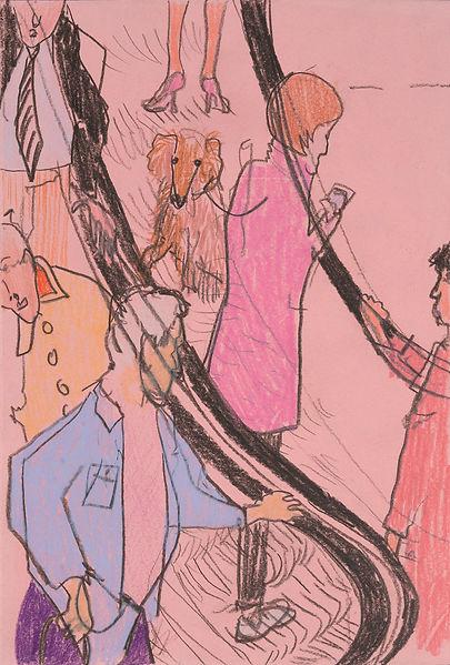 Henri Haake Malerei Maler painting Kunst art Kunstmarkt Künstler artist artfair zeitgenössisch contemporary collector Sammler artcollector Berlin Kreuzberg Lübeck emerging artist emergingart figurative henrihaake artmarket upcoming collector Sammler artcontemporain newfigurative Studio Rolltreppe Aufwärts und Abwärts zeichnung drawing paper pencil Papierarbeit Papier rosa dog Hund