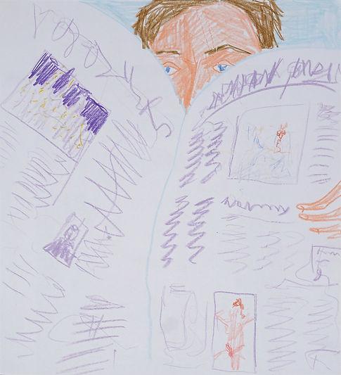 Henri Haake Malerei Maler painting Kunst art Kunstmarkt Künstler artist artfair zeitgenössisch contemporary collector Sammler artcollector Berlin Kreuzberg Lübeck emerging artist emergingart figurative henrihaake artmarket upcoming collector Sammler artcontemporain newfigurative Studio Zeitungsleser newspaper reader news Nachrichten drawing Zeichnung Papier paper