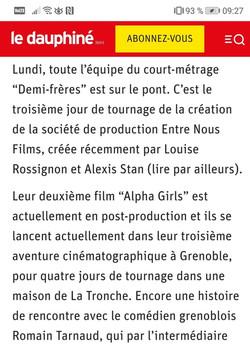 """Article Dauphiné Libéré """"Demi-Frères"""""""