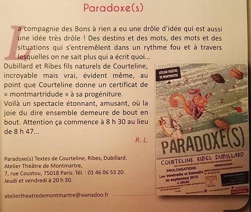 spectacle Paradoxe(s) - Montmartre à la Une