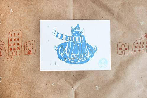 sleigh ride postcard