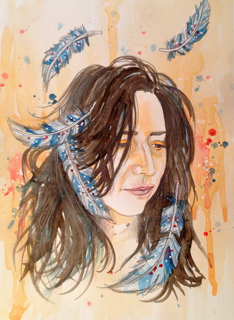 Self Portrait with Feathers