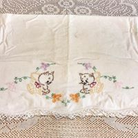 Embroidered Cat Pillow Case