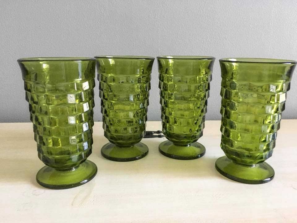 Tall Green Water Goblets
