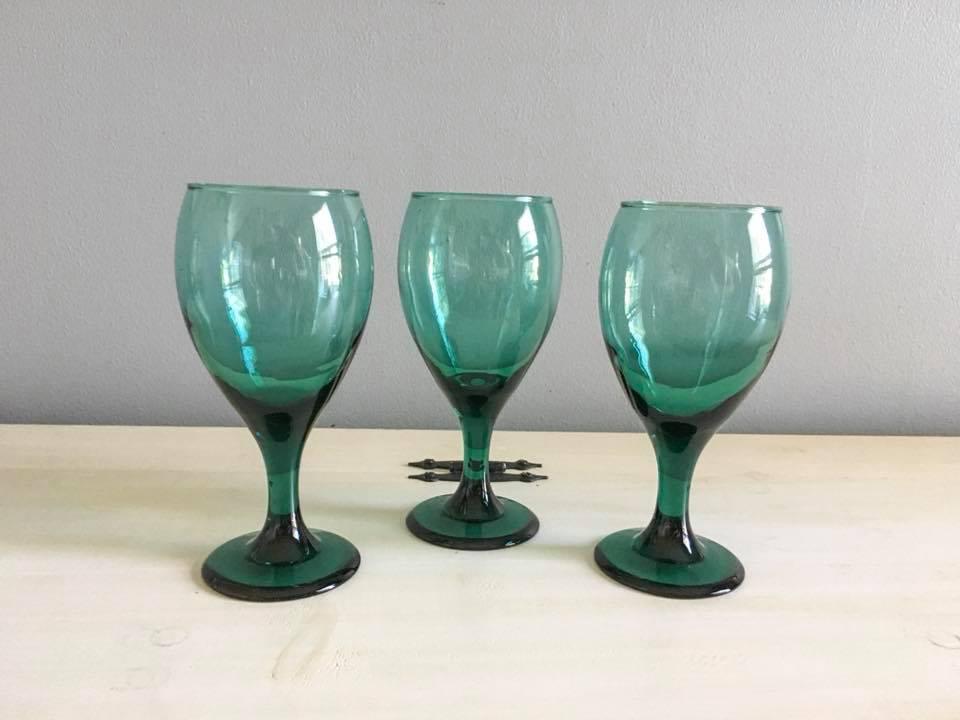 Teal Wine Glasses