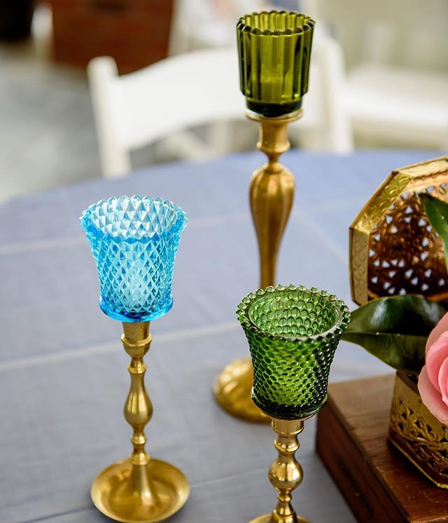 Colored Glass Taper Candle Votives