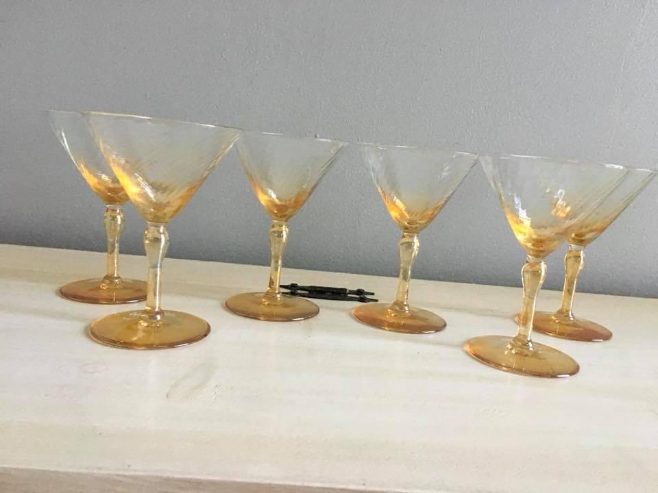 Vaseline Colored Martini Glasses