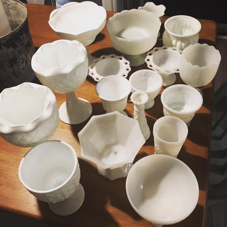 Various Milk Glass Containers