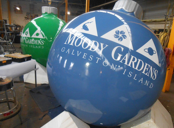 Giant ornaments with custom decal logos.