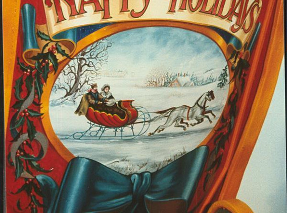 Wooden sleigh handpainted detail.
