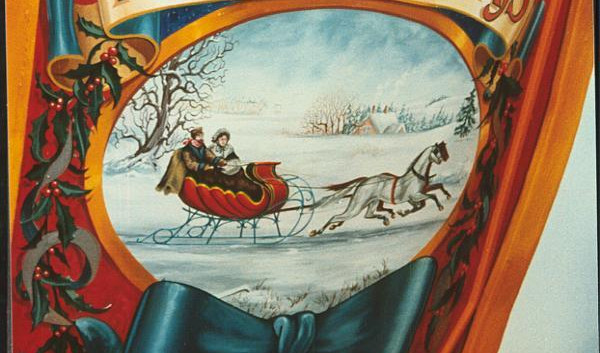 Wooden sleigh handpainted detail.