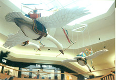 Flying holiday geese deliverying gifts