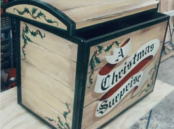 "Custom made ""A Christmas Surprise"" trunk."