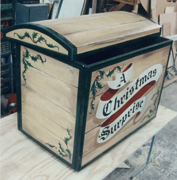 "Custom made ""A Christmas Surprise"" trunk."