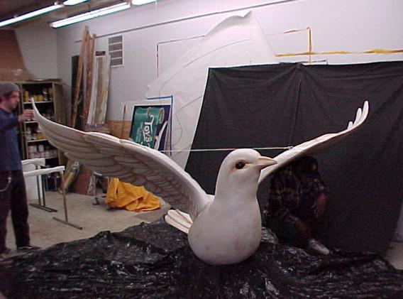 Our fiberglass dove has an impressive wing span.