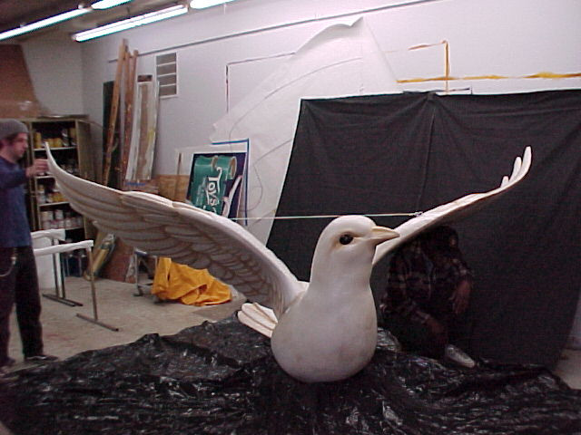 Our fiberglass dove has an impressive wing span.