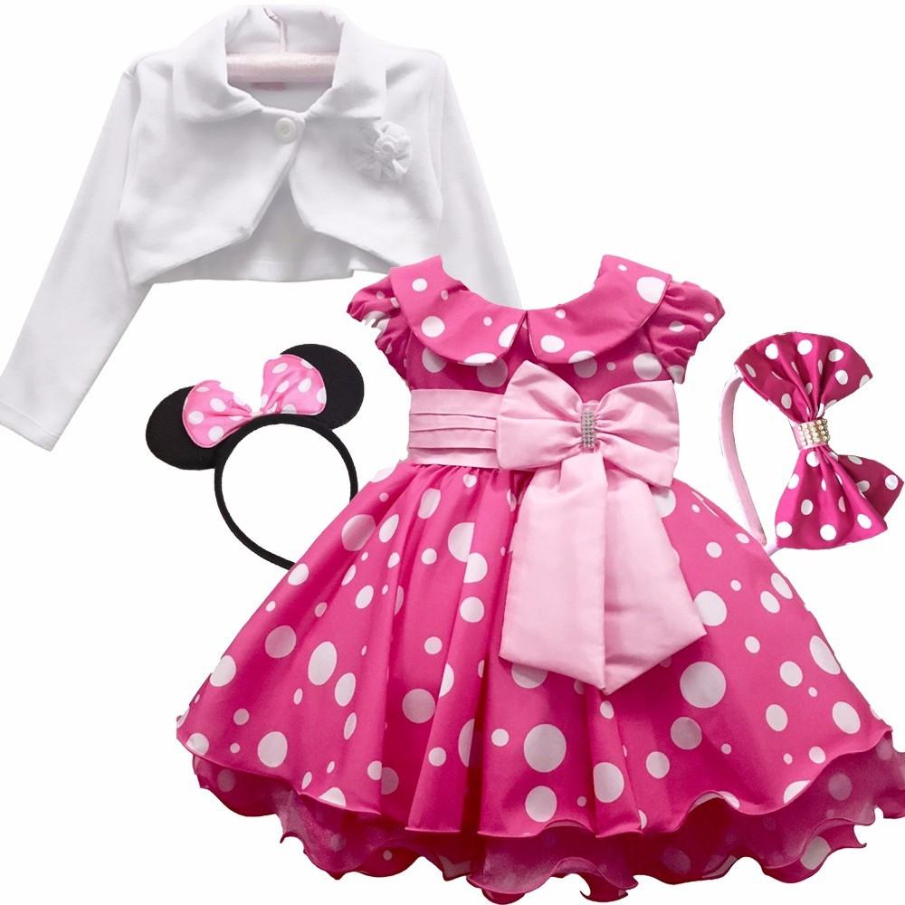 Vestido Minnie Rosa Pink Festa Luxo Minn