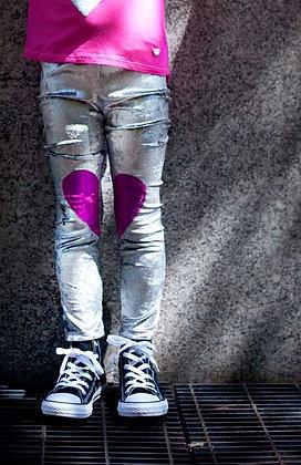 Silver Velvet Heart Leggings