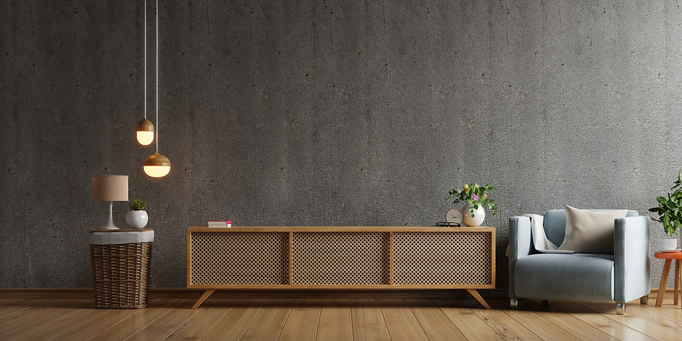 cabinet-tv-modern-living-room-with-armchair-lamp-table-flower-plant-concrete-wall-backgrou