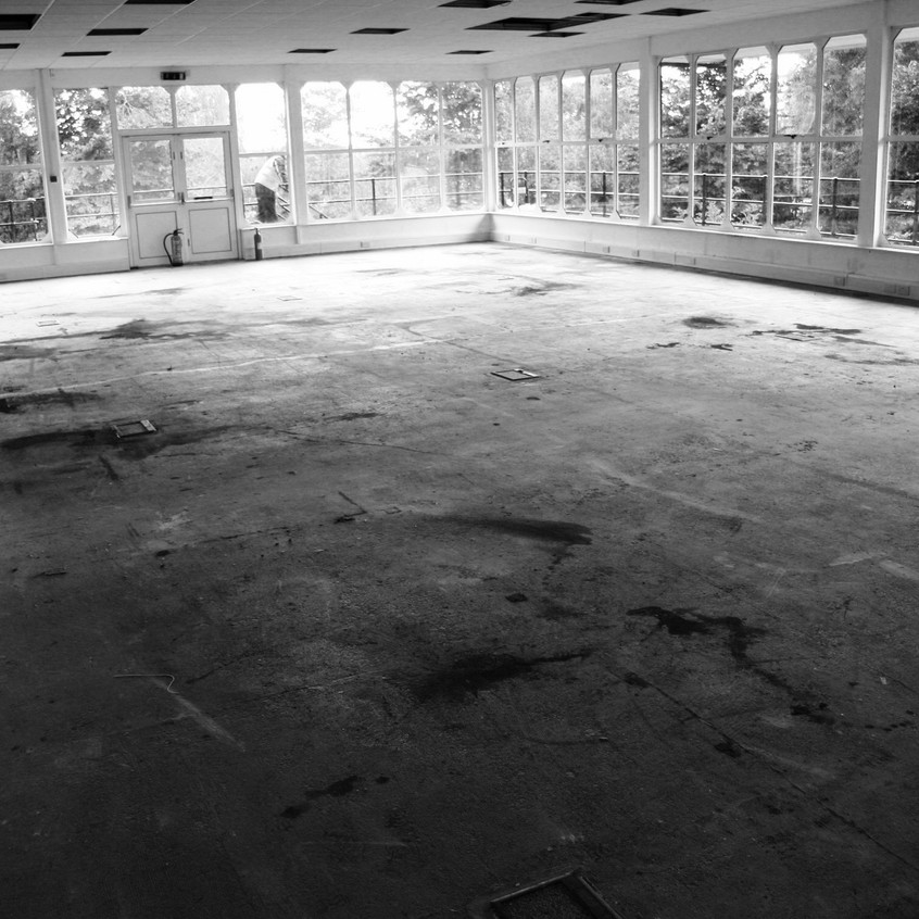 Carpets, partitions and air conditioning systems have been removed