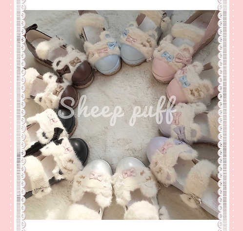 Fluffly Fur Bear Platform Shoes